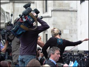 TV news crews jostle for the best pictures, Royal Courts of Justice